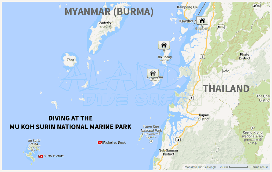 Map with the location of the Surin Islands National Marine Park